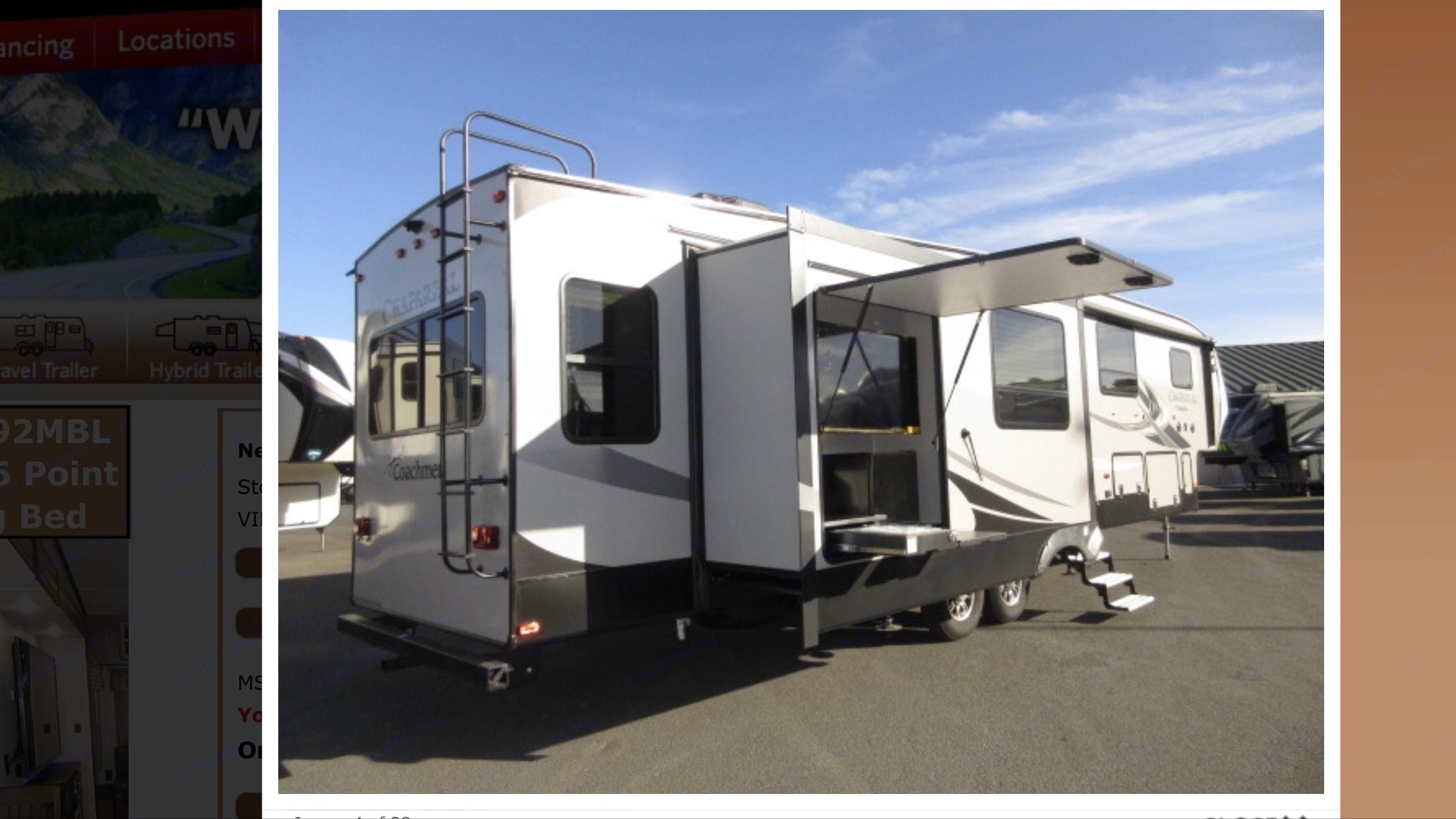 """Exterior kitchen and 50"""" tv, under storage . Coachmen Chaparral 2019"""