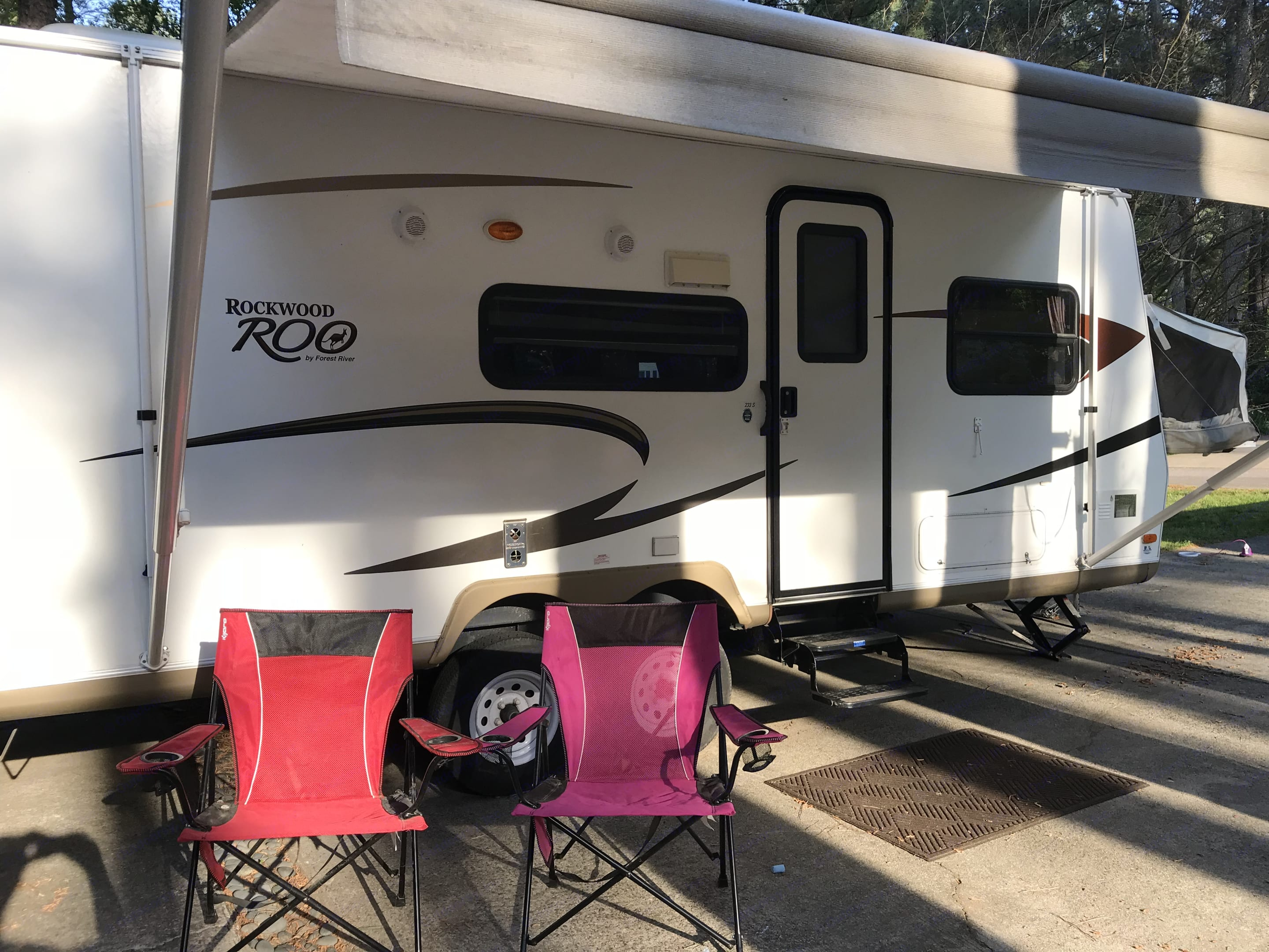 Welcome to your home base for your next adventure! We aim to make your rental experience as fun, easy, and simple as possible. Many camping basics are included in our rental - like his and her camping chairs as well as three kid-sized camping chairs.. Forest River Rockwood Roo 2011