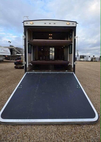 Deck/Ramp  & two bunk beds that can be electrically left out of the way. Forest River Shockwave T27FQDX 2014
