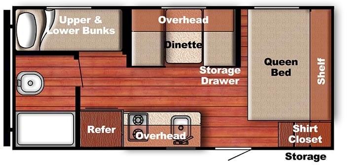 Amerilite 199DD - Floorplan. Gulf Stream 199DD 2018