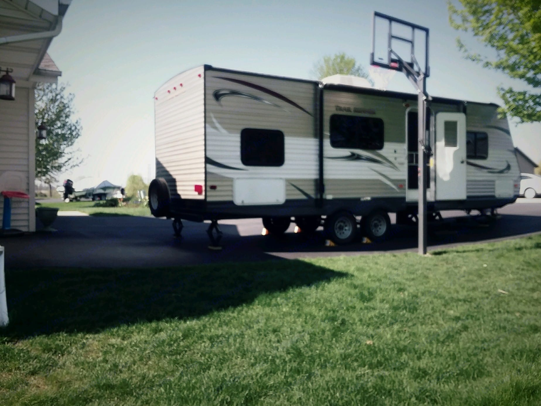 30 foot travel trailer in excellent, clean condition.  Premium memory foam queen mattress and two double bunks for the kids.  . Heartland Trail Runner 2014