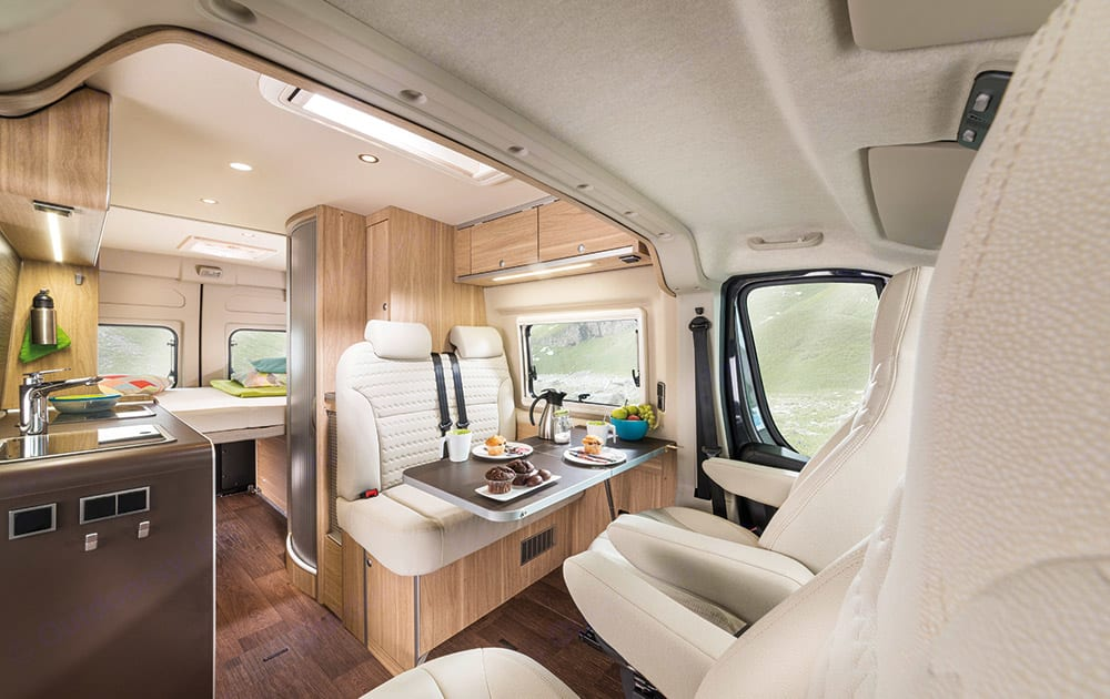 More spacious, convenient and flexible dining. Thanks to ergonomic features and intelligent interior design solutions, the Aktiv takes flexible travel to a whole new level. The seats, with integrally molded side cushions and integrated headrests, are exceptionally comfortabLE. Hymer Aktiv 2019
