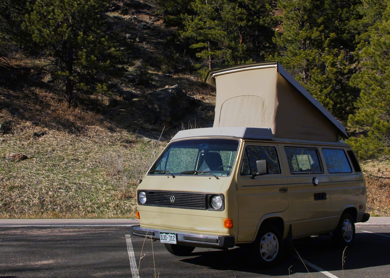 Pop the top and enjoy some well-deserved wiggle room! . Volkswagen Vanagon 1983