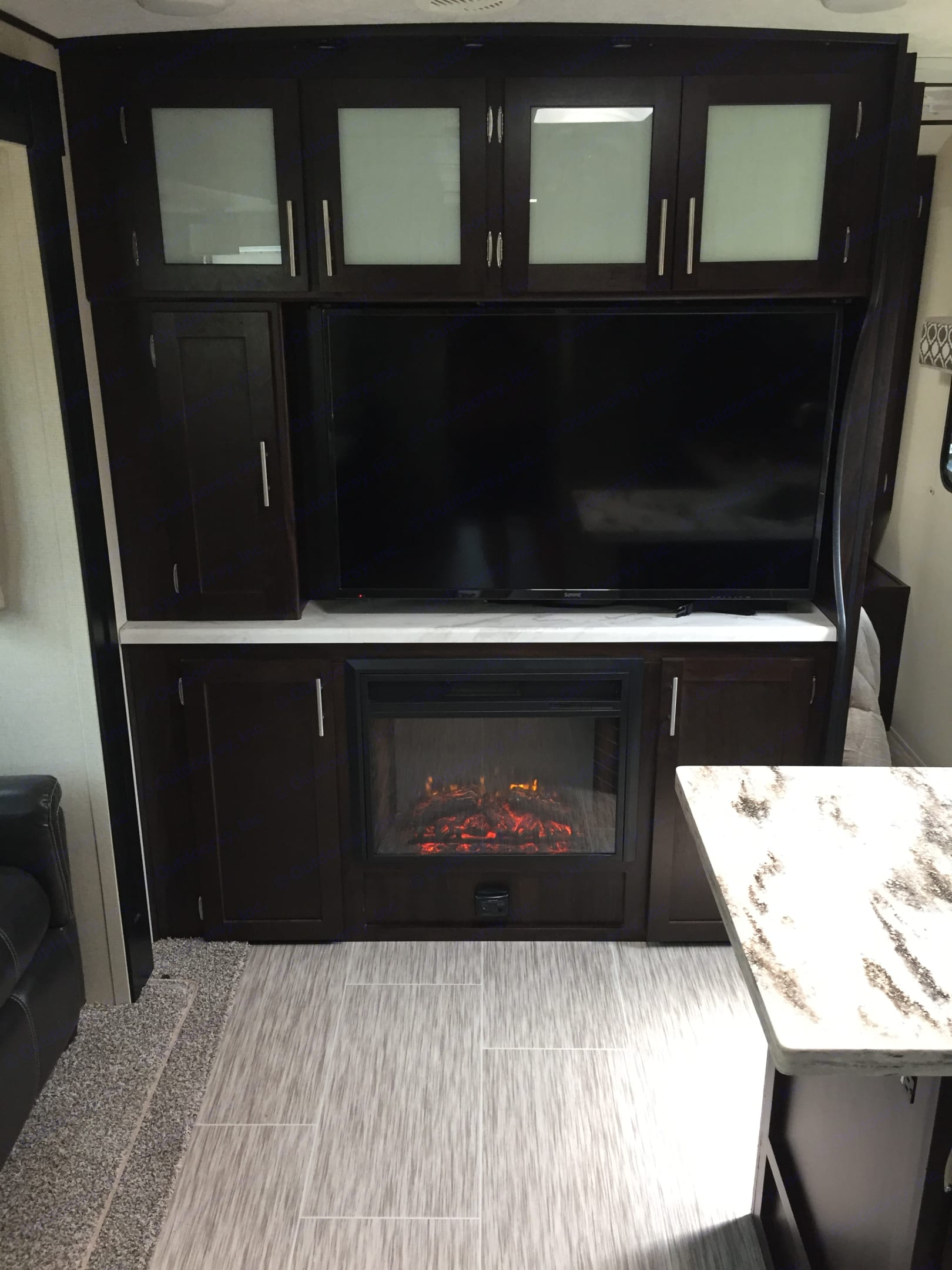 """50"""" TV and electric fireplace. Prime Time Lacrosse 2018"""