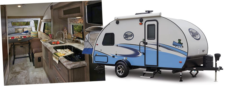 """This is not the actual model, but the exterior looks the same except our R-Pod does not have the """"Tent"""" in the back.. Forest River R-Pod 2018"""