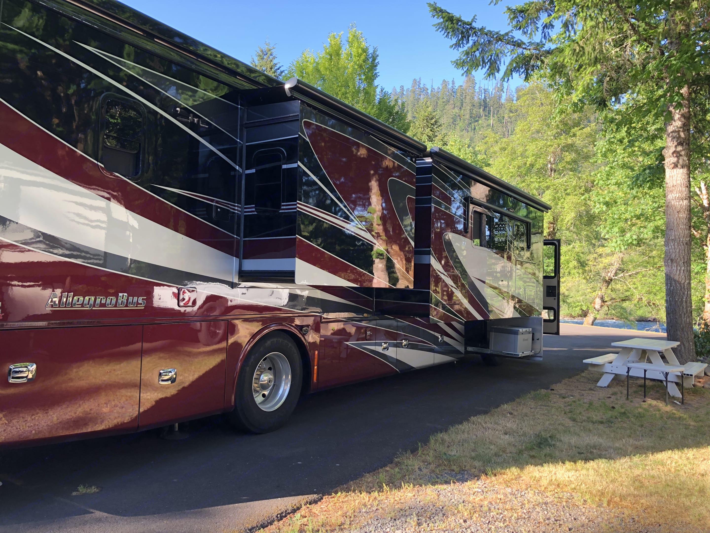 Note the Exterior Fridge. Tiffin Allegro Bus 2015