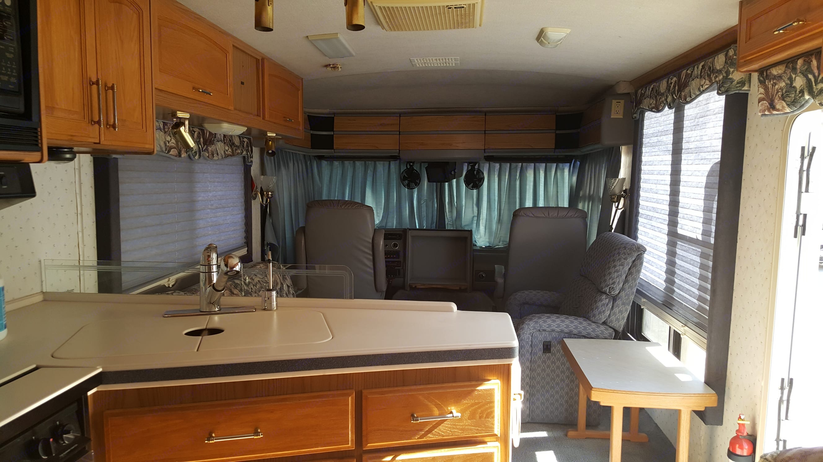 Curtains to the sun out and for privacy.. Fleetwood Pace Arrow 1996