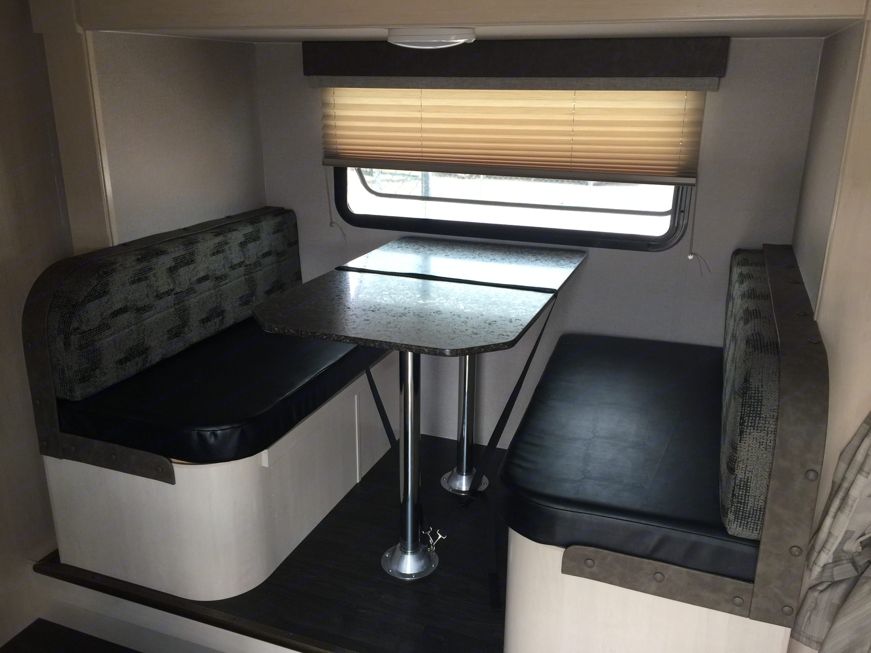 This table easily becomes a full size bed and has storage under both seats. Winnebago Micro Minnie 2019