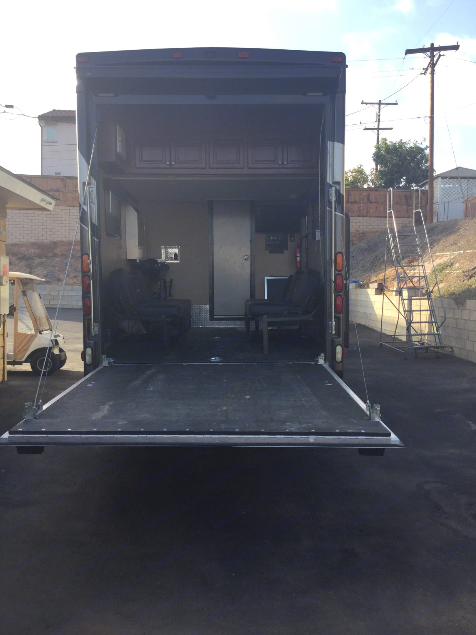 8' x 10' garage with fall down couches that turn into a bed. Thor Motor Coach Outlaw 2016