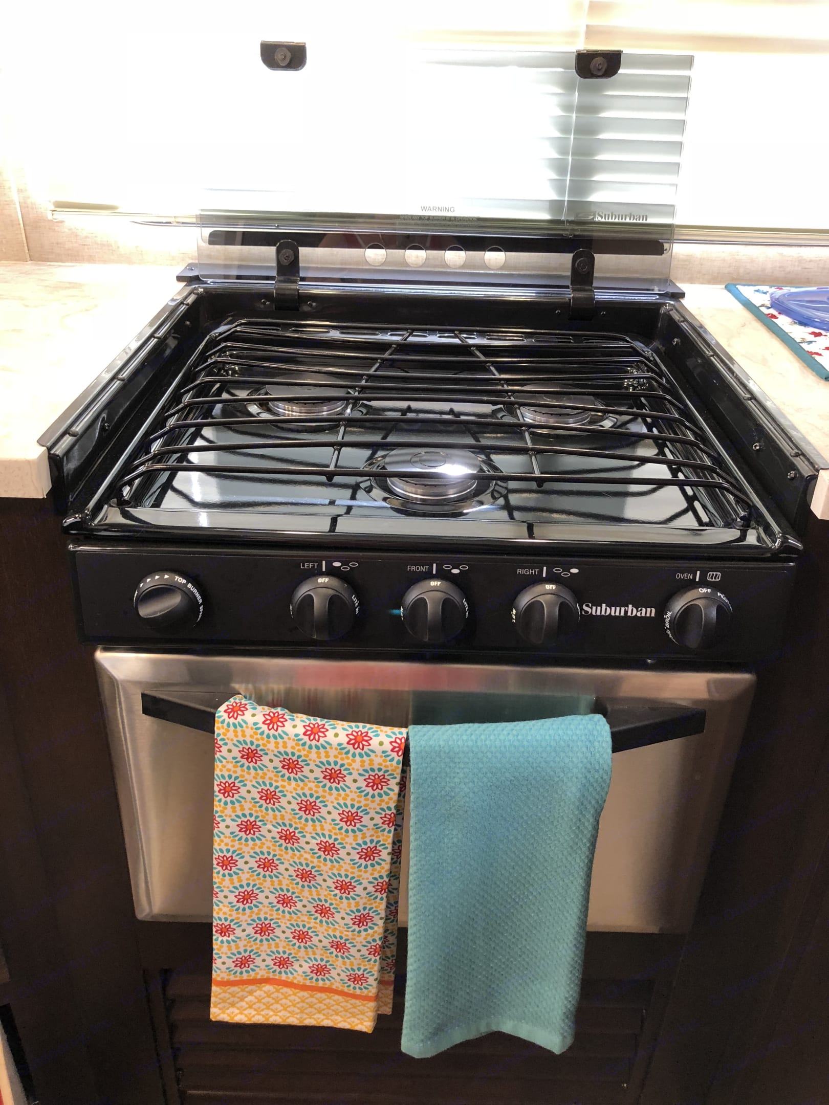 Stainless/Black 3 burner stove and oven combo.. Forest River Cherokee 2018