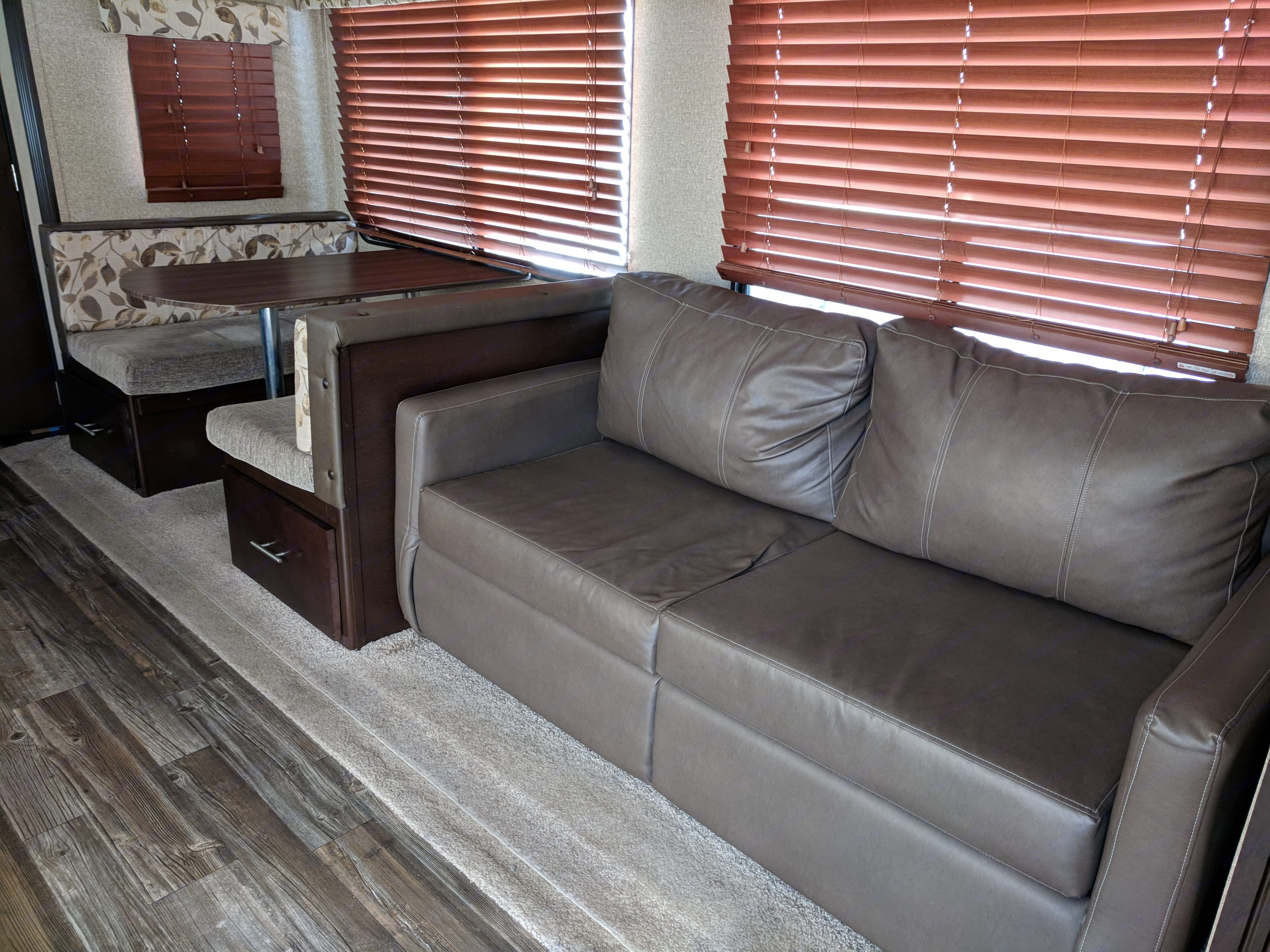 Dinette transforms to bed and Pull out sofa pulls out to full bed. Forest River Cherokee 2016