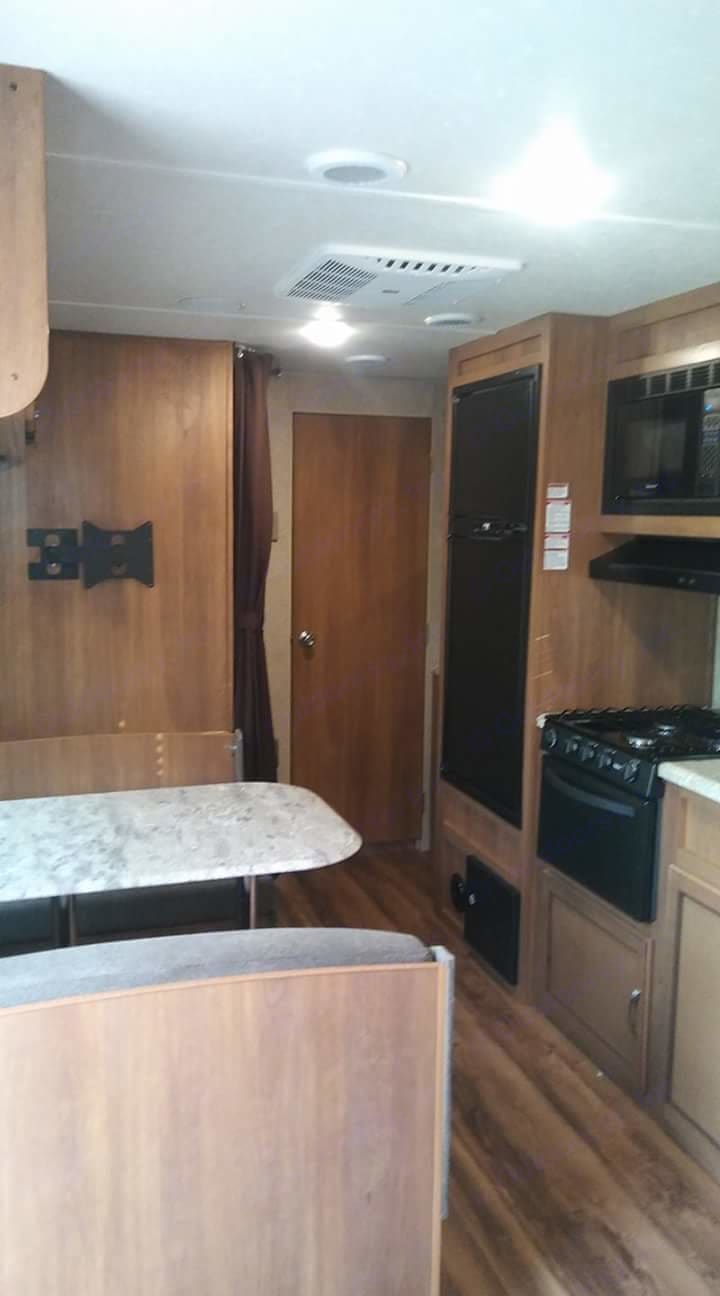 Tv is up now ! Also table is a bed!. Coachmen Catalina 2018