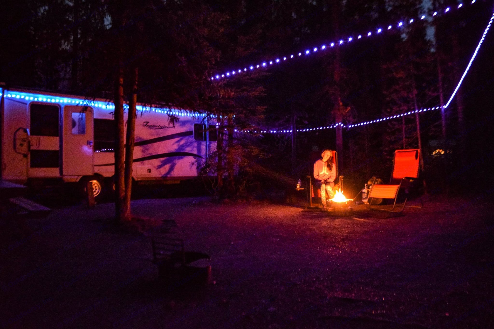 Camping in Jasper with our Solar LED's setup. Travelaire TT 267 2006