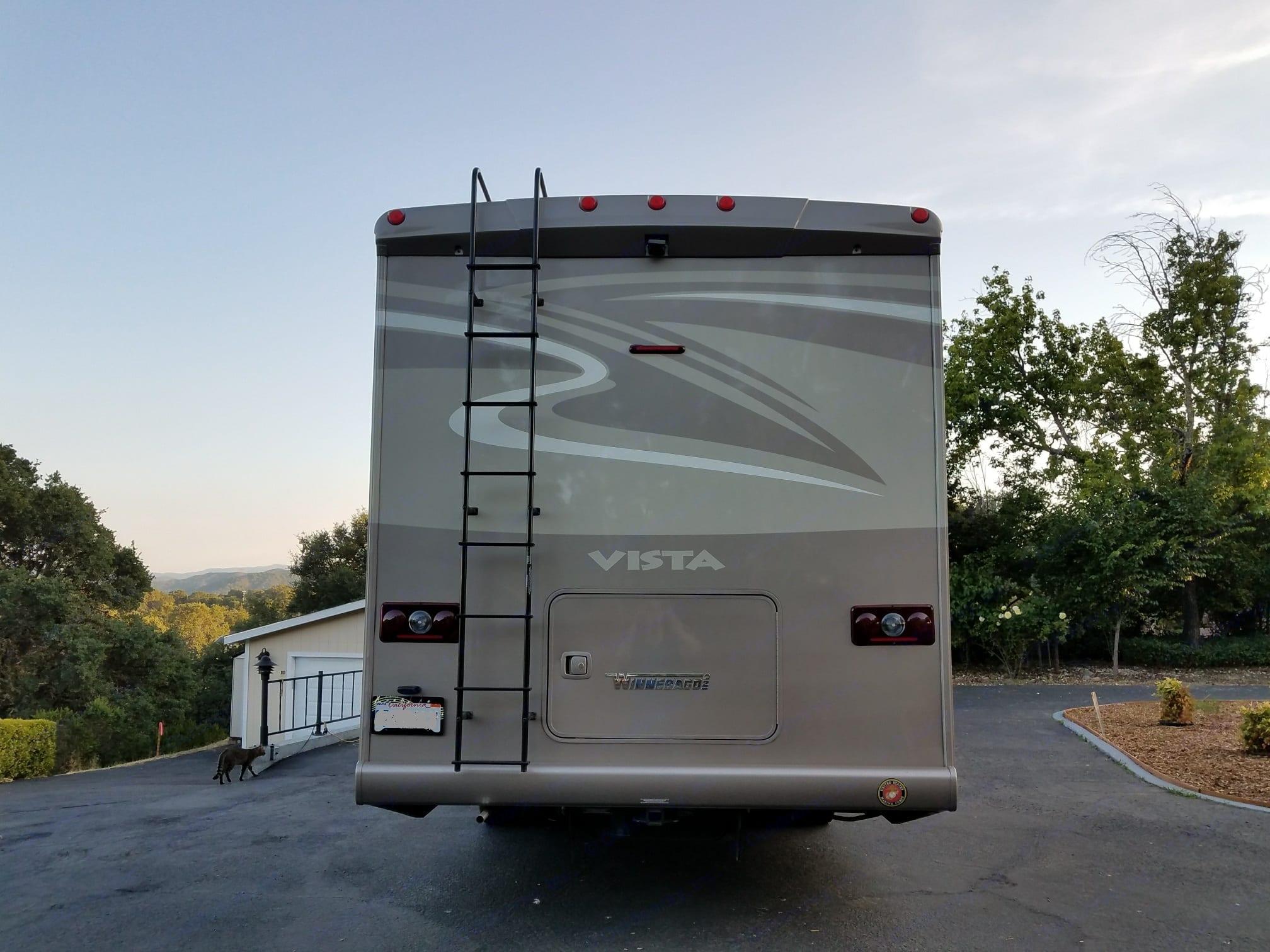 Rear view camera for backing safety. Winnebago Vista LX 2016