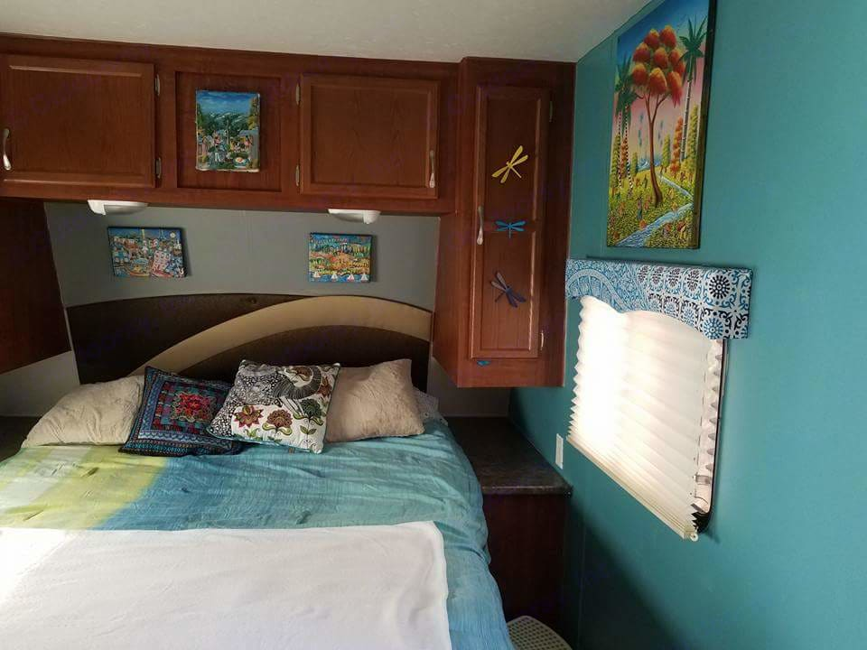 Master bedroom, tempurpedic mattress, plenty if storage and bright fun decor.. Jayco Jay Flight 2010