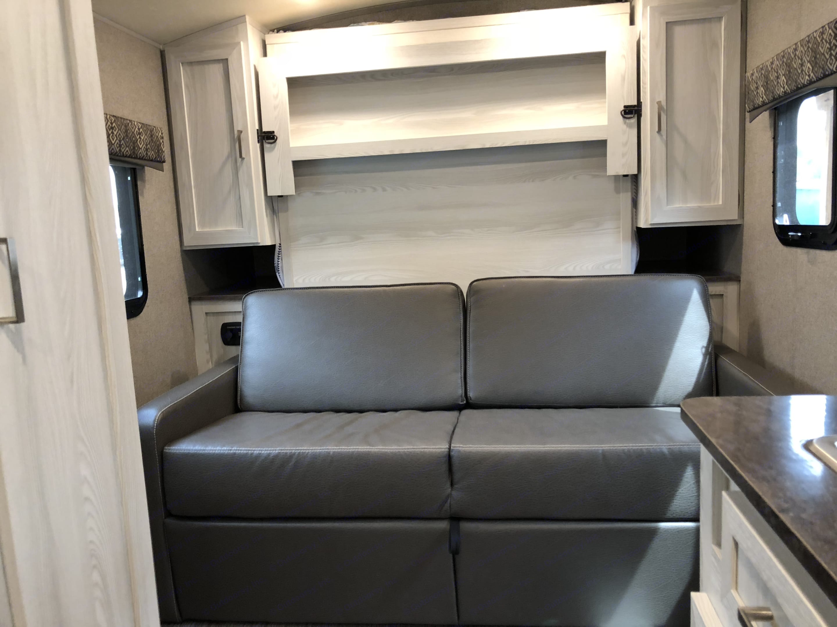 Front bed folds into a couch. Flagstaff E-Pro 2018