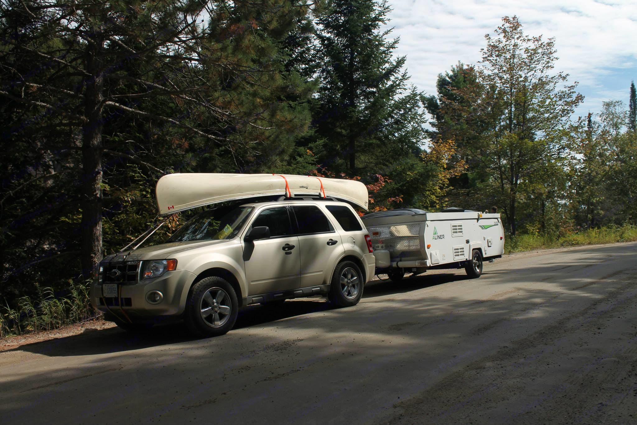 Towing setup, Rock Lake Road, Algonquin Park.. A-Liner Classic 2013