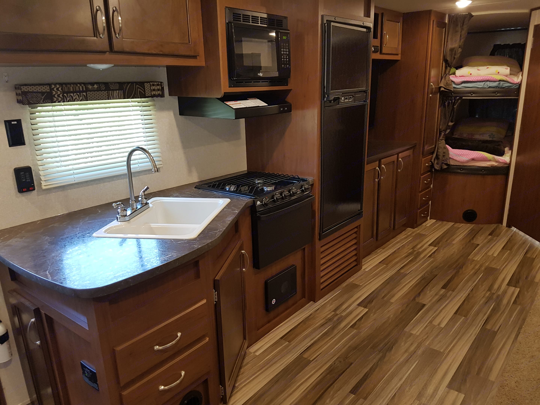 Kitchen and large size living area. Jayco Jay Flight Swift 2017