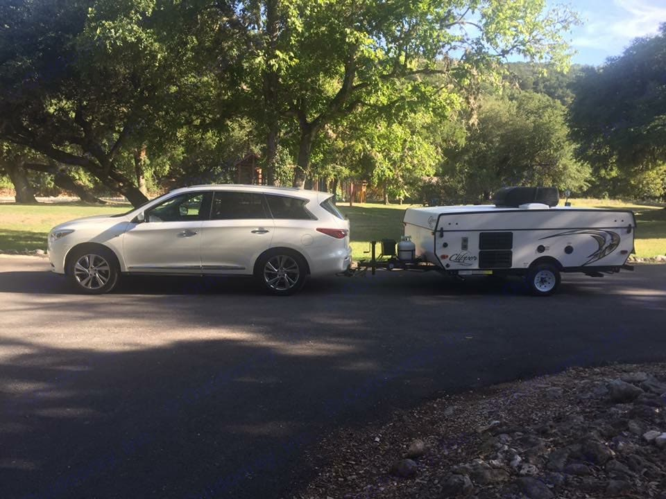 Hooked up to our car and ready to go! . Coachmen Clipper 2017