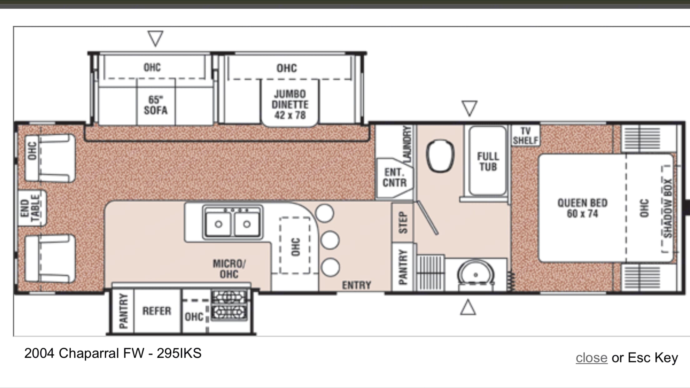 Layout of the camper. Coachmen Chaparral 2004