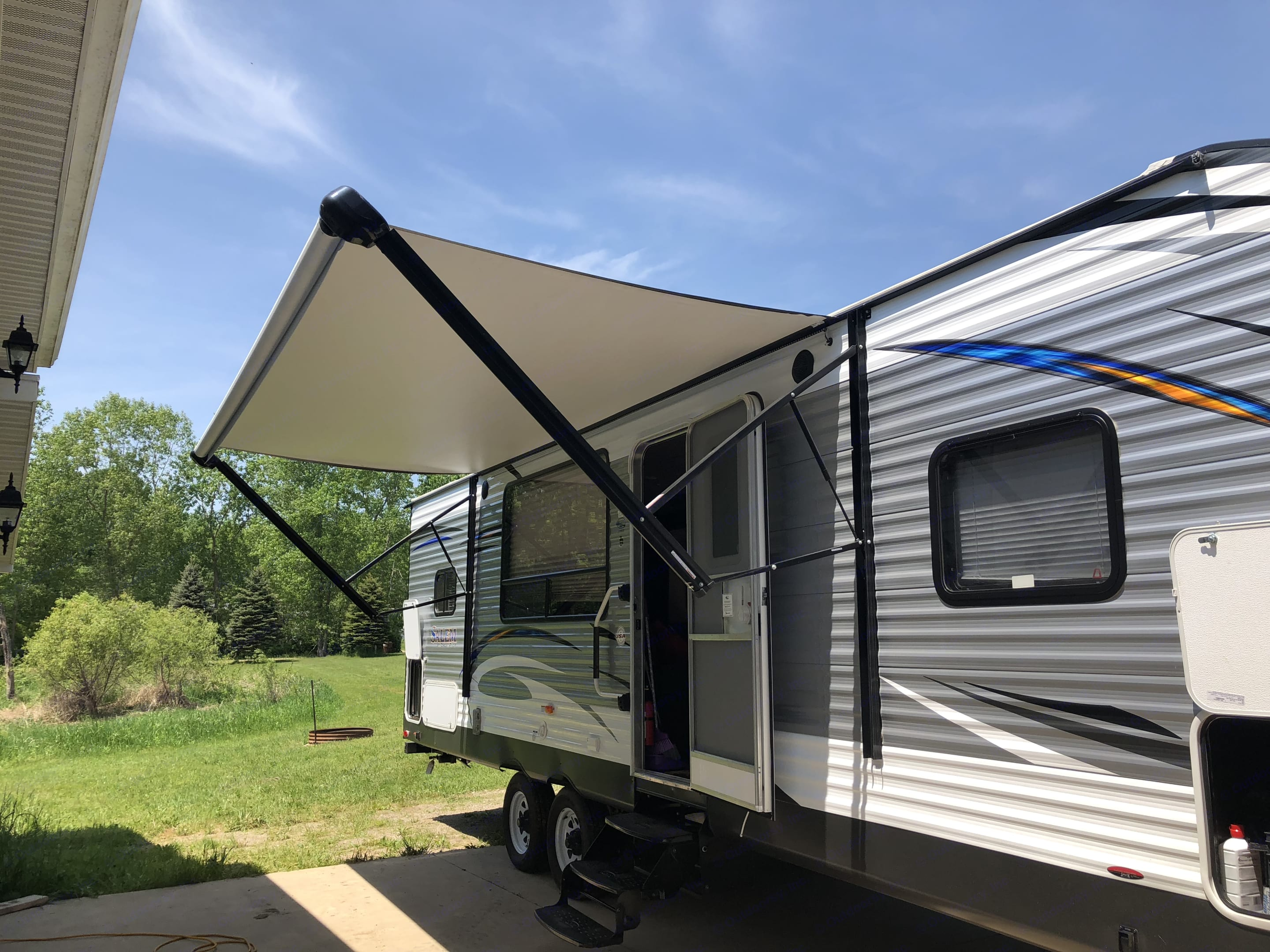 Electric awning with LED lights . Forest River Salem 2018