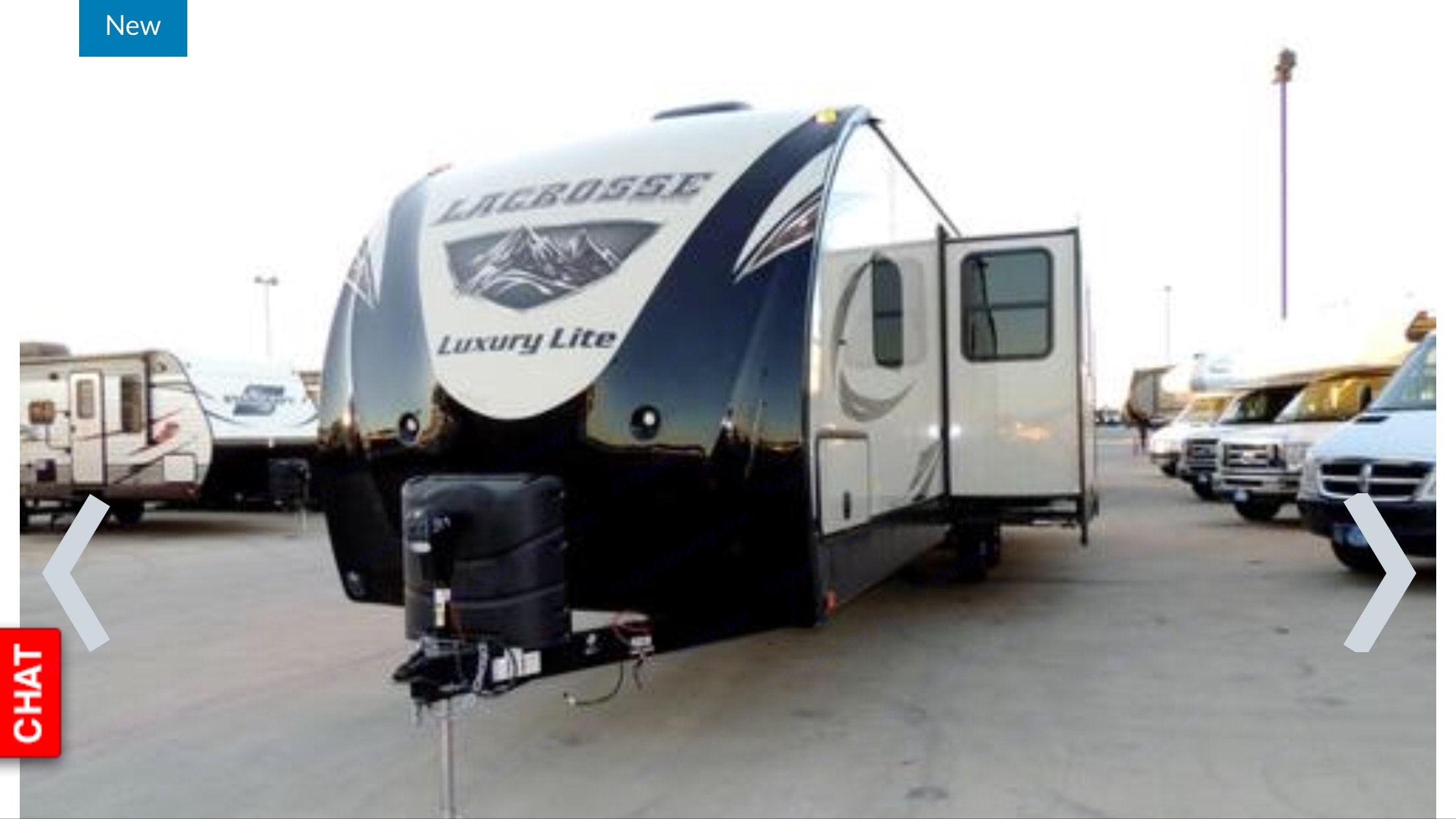 Front of trailer with the living room slide out. Prime Time Lacrosse 2017