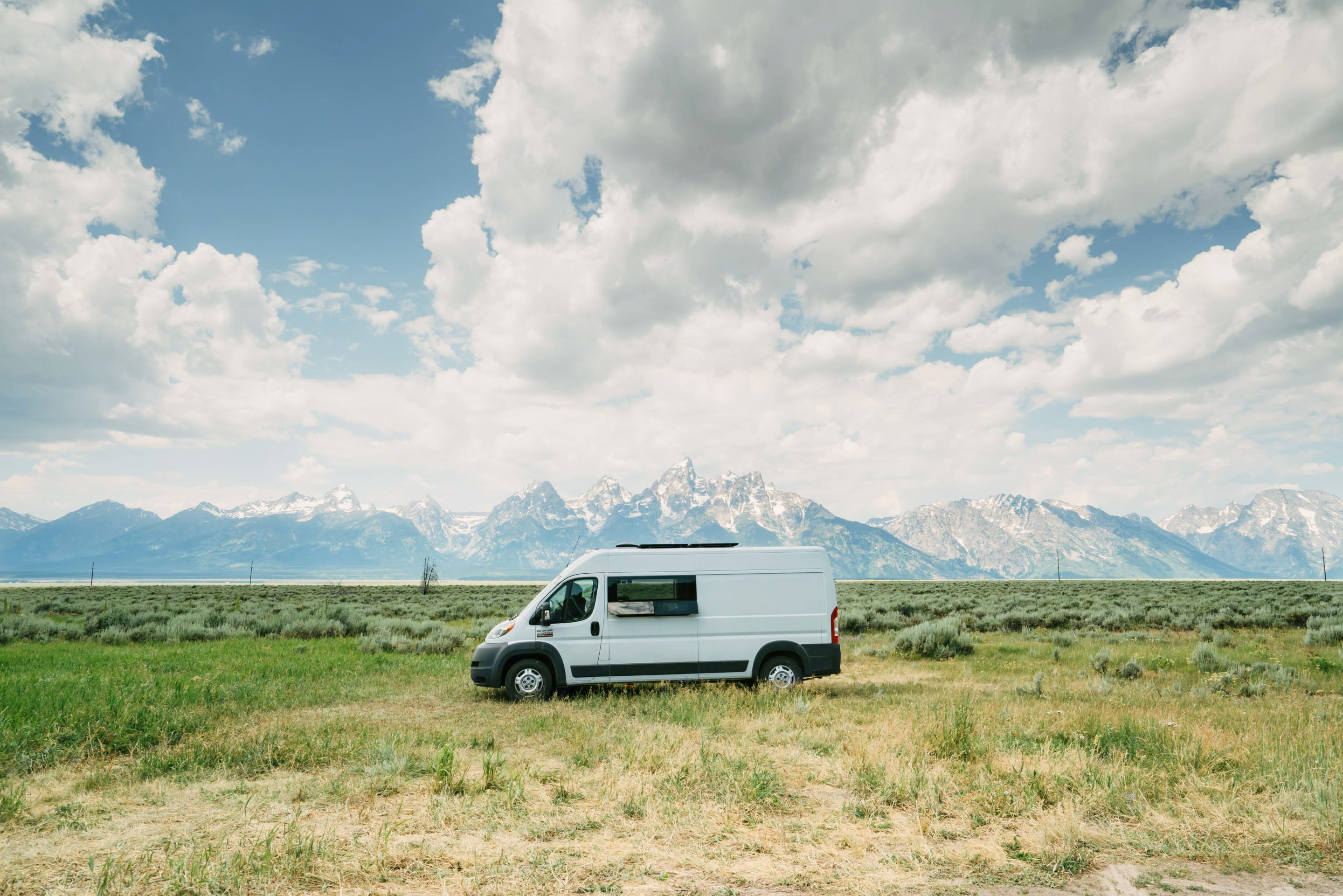 """Betsy parked in front of the Tetons.. Dodge Ram 2500 High Roof 159"""" 2016"""