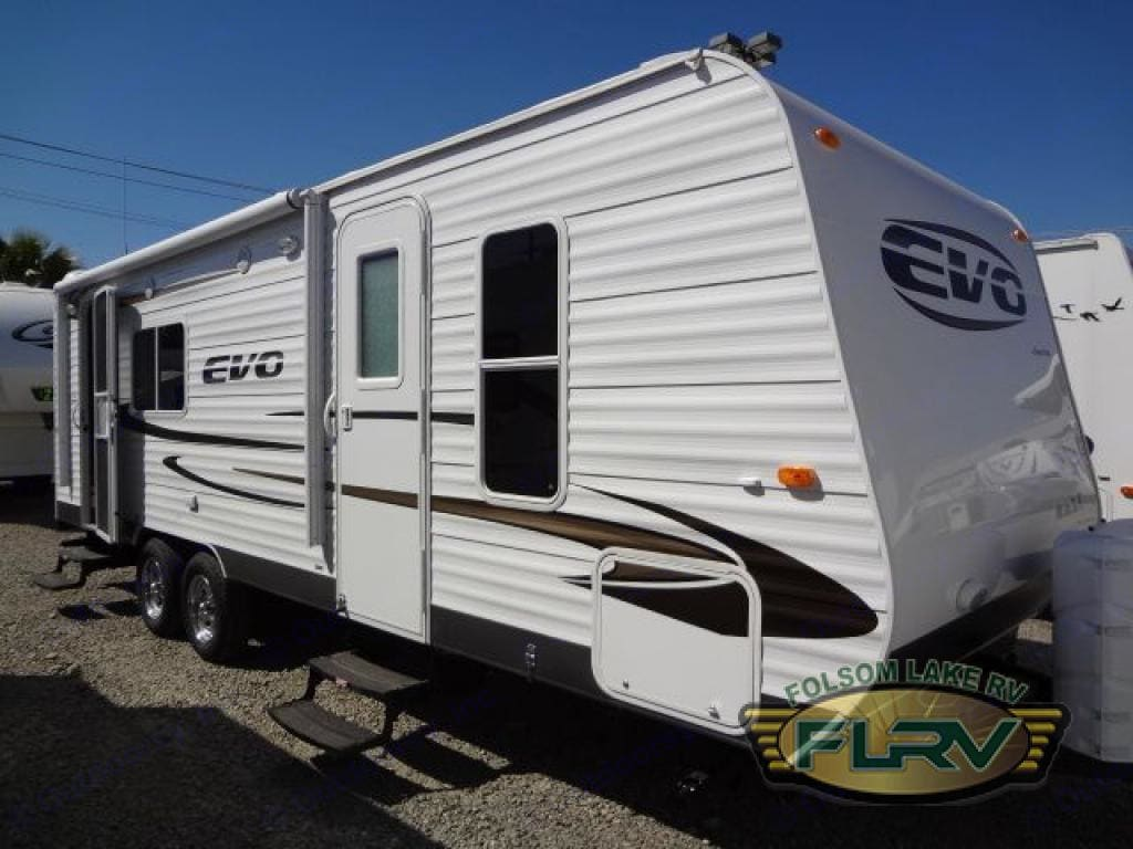 Exterior of trailer...note two doors for convenience!. Forest River Evo 2013