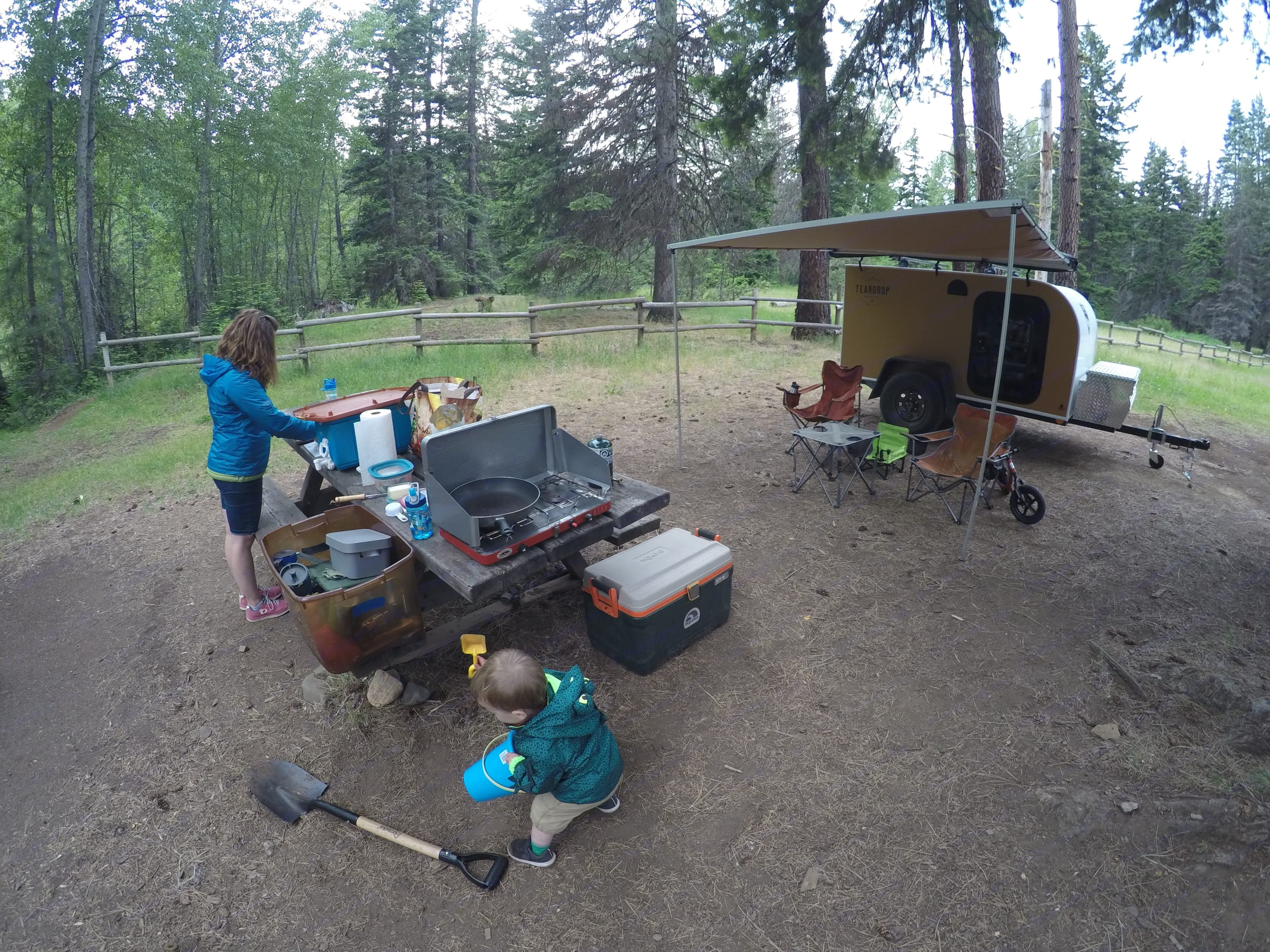 Set up and ready for dinner after a day of exploring around the mountains.. Sherpa Yeti 2018
