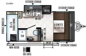 Perfect floorplan to maximize space.  Rear bunks great for kids but adults fit too (even my husband who is 6'1 can fit in these bunks)!  U shaped dinette great for family time dining or watching a movie together.  At bedtime dinette transforms into queen size bed.  . Forest River Rockwood 2019
