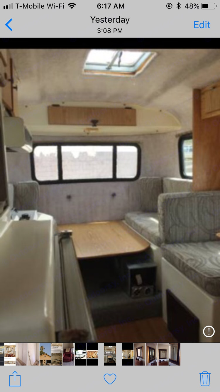 Back table converts to bed that sleeps two adults.. Casita 16 Spirit Deluxe