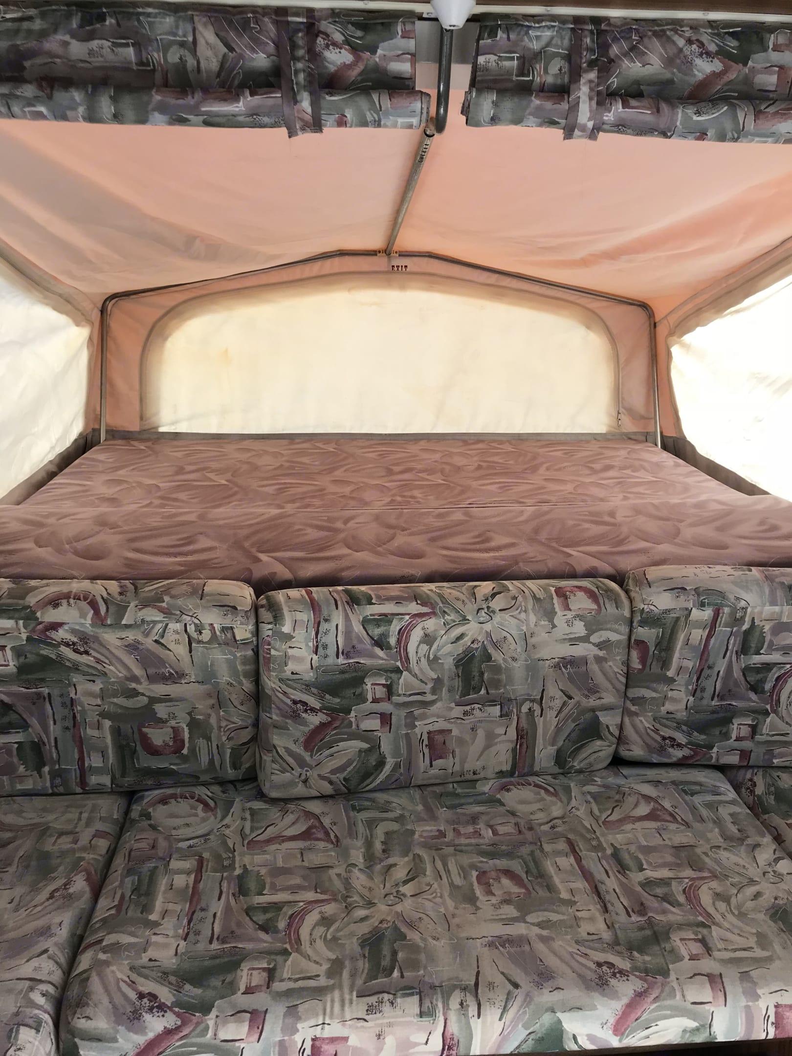 Interior front bunk. Jayco Kiwi 2001