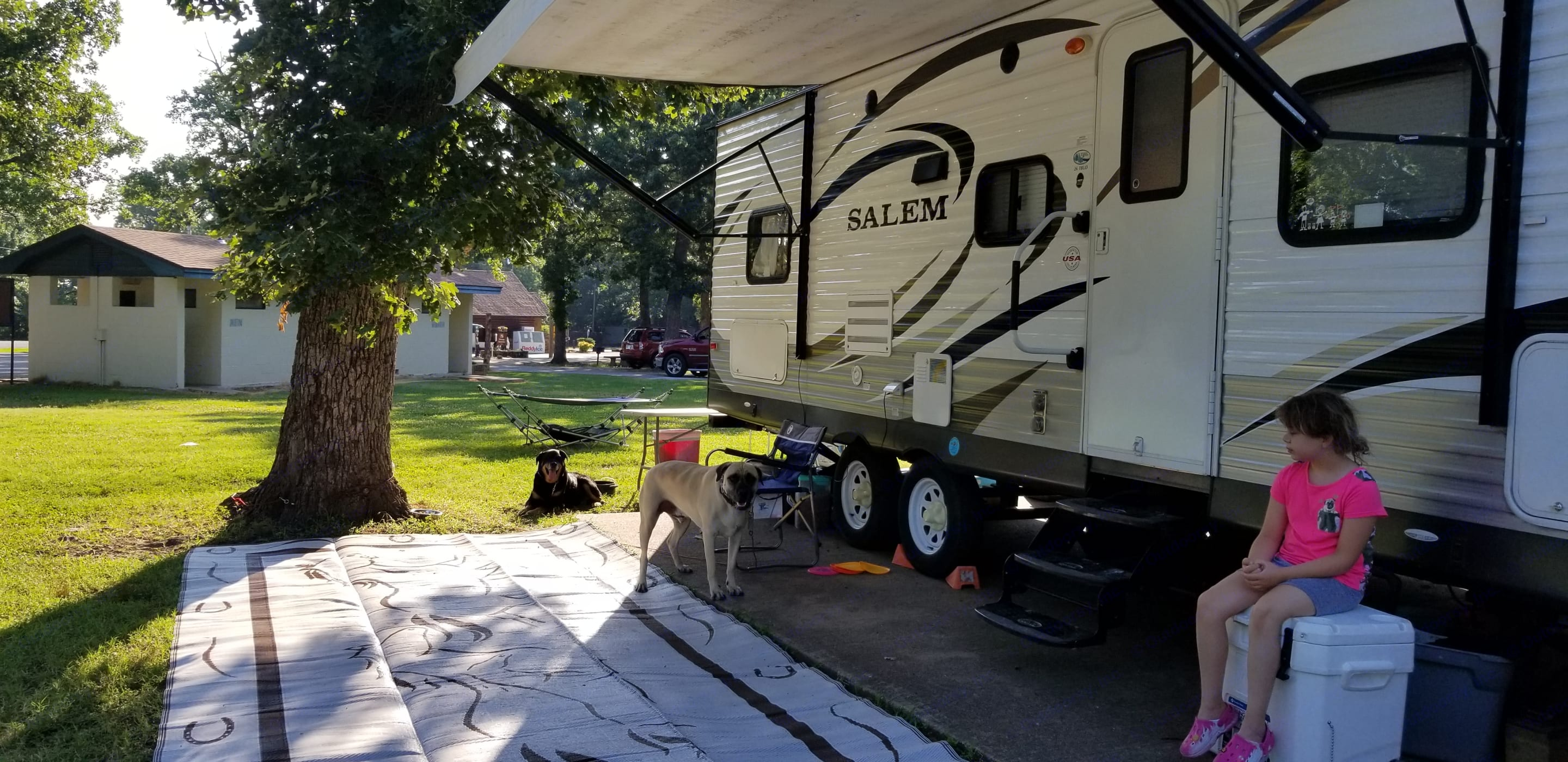 Pups and kid not included! Outside of camper, has a lot of storage, will include a basic grill and basic supplies. More pics to come, we dont spend much time inside so dont have any handy! Pets may be considered, but not a normal exception.  . Forest River Salem 2014