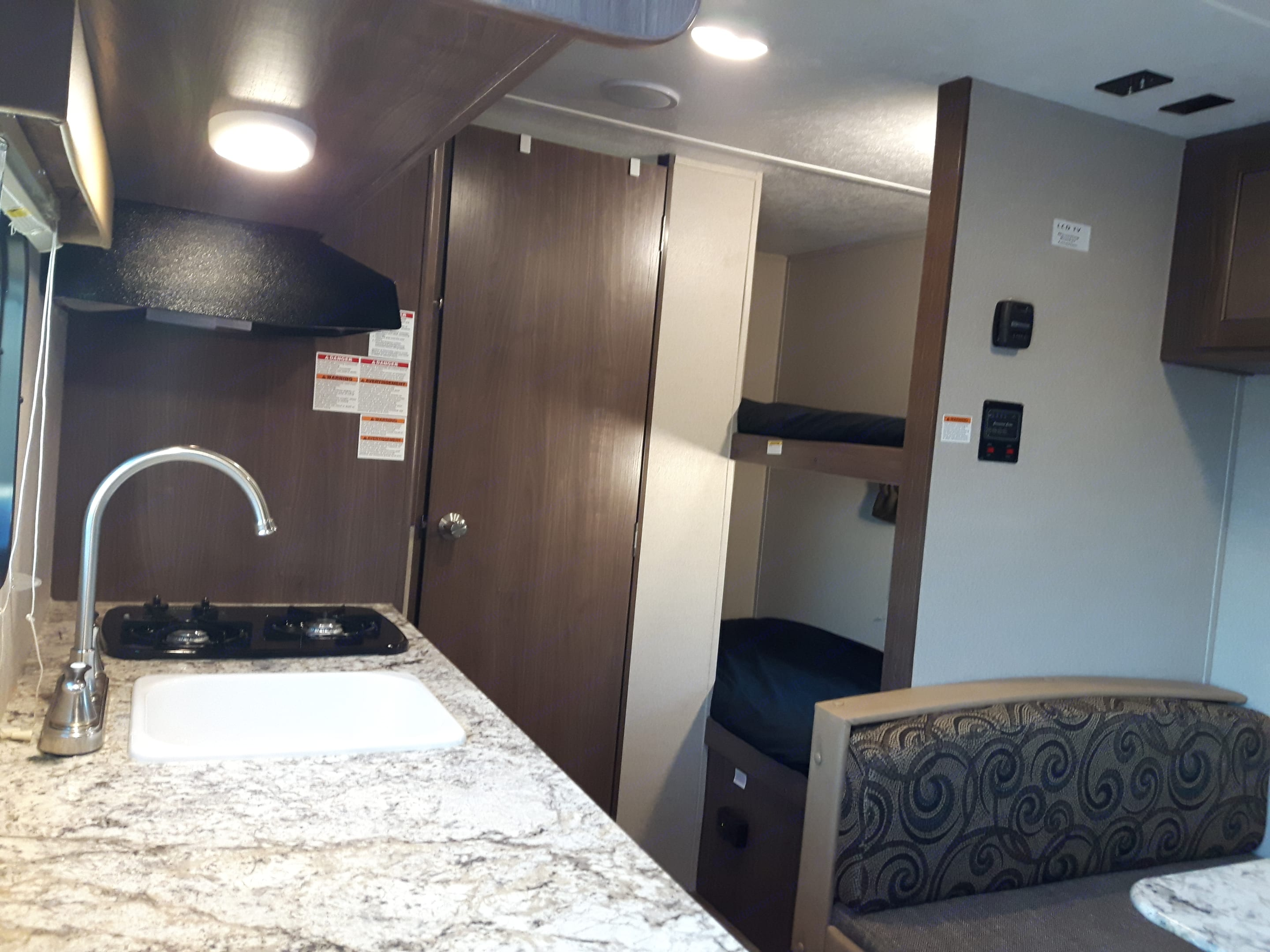 From the entry door, showing the trailer layout.  Lots of space for everyone for your trip!. Keystone Hideout 2018