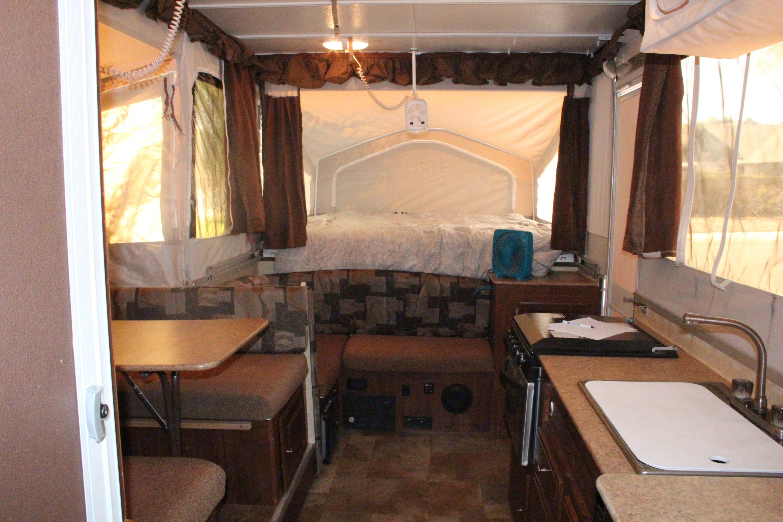 Inside camper. Forest River Flagstaff 2016