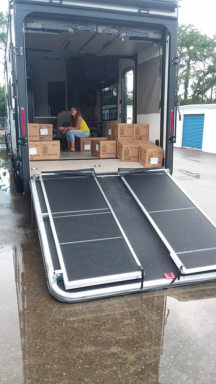 Deck that folds down. Gates come up and screen slides down to stop bugs.. Jayco toyhauler Octane toyhauler 2018