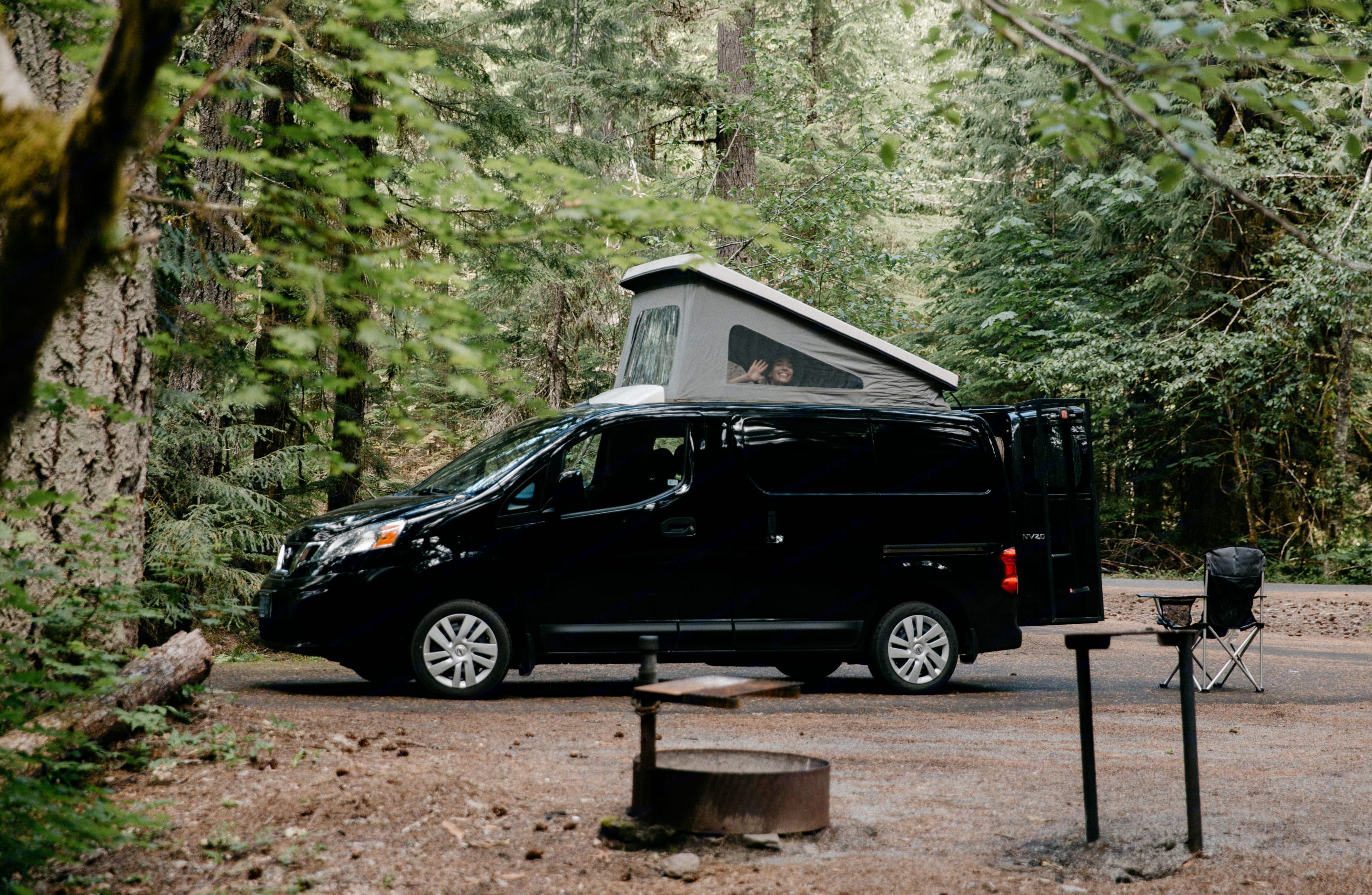 Vanna is a 2015 Nissan that boasts the fuel efficiency of a car at  24/26 mpg with all the conveniences of a camper van.. Nissan Camper Van 2015