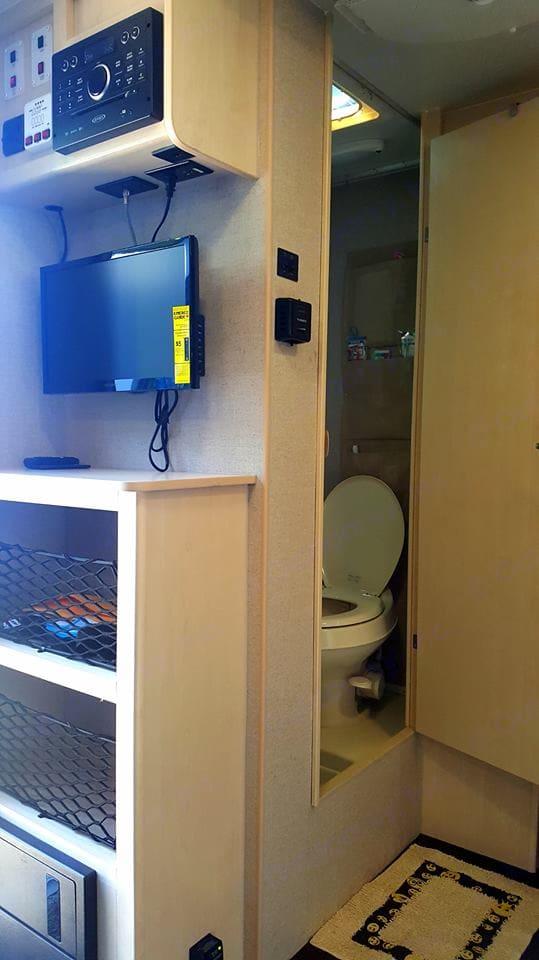 Shower/toilet combo, tv, stereo with indoor/outdoor speakers. . Winnebago Other 2018