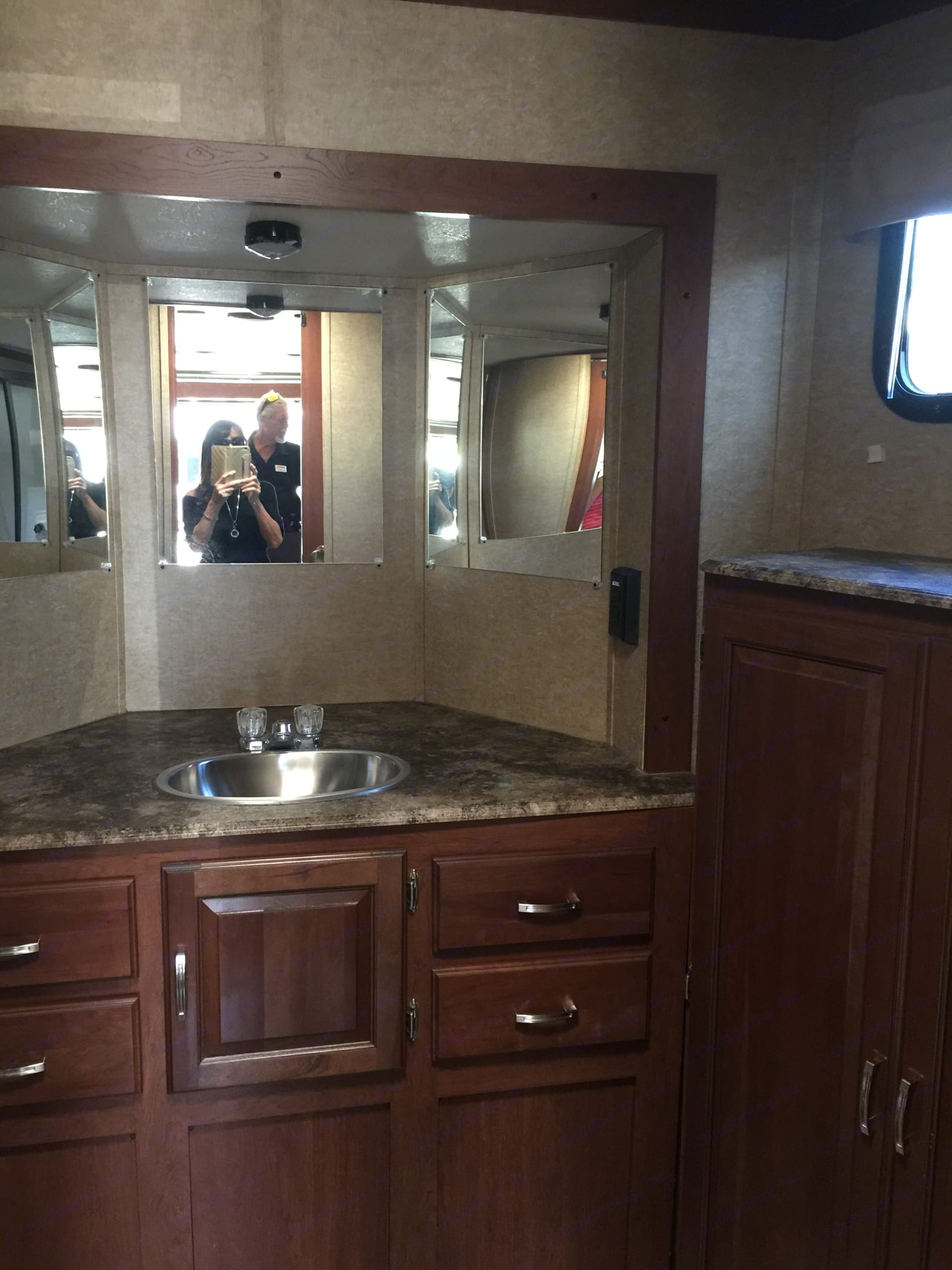 Large bathroom with lots of storage.. Forest River Work And Play 2014