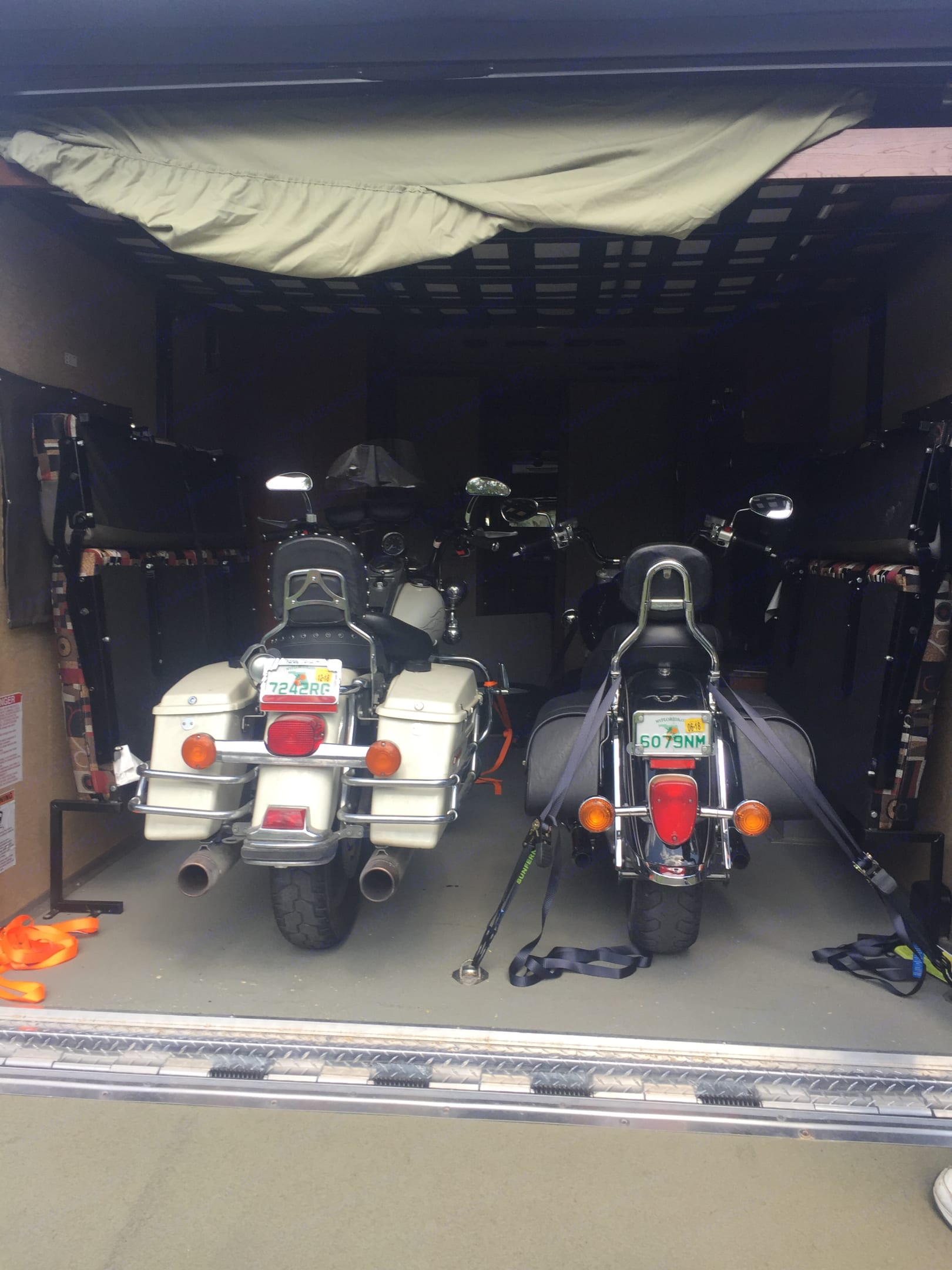 Holds two motorcycles ( with bike holders) or one golf cart . . Forest River Work And Play 2014