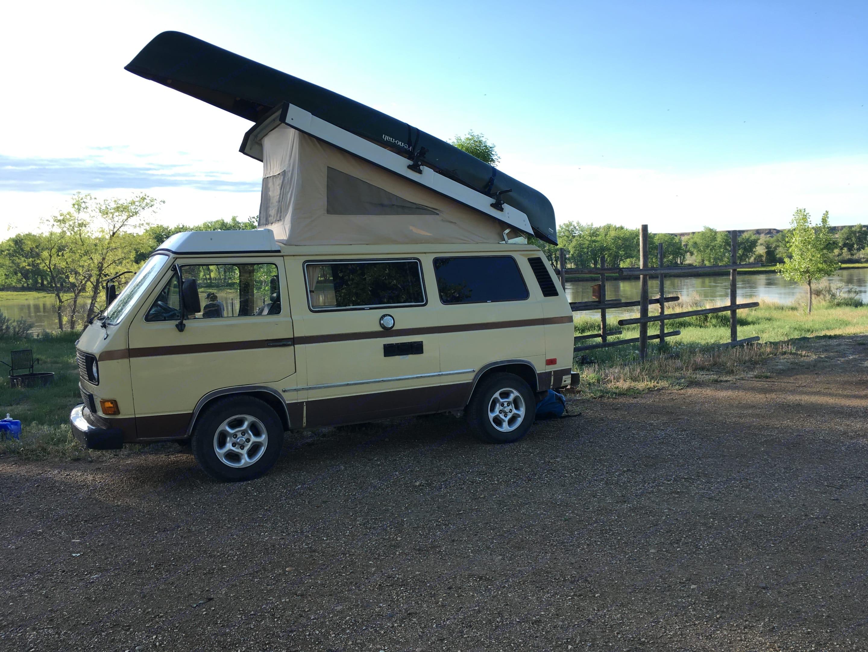 At the Missouri River Wild & Scenic Put-in. . Volkswagen Westfalia 1982
