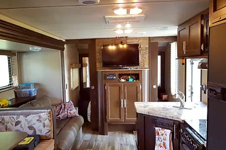 Picture taken from the back of the trailer.  As you can see there is tons of room for your family and pets! . Forest River Cherokee Grey Wolf 2016