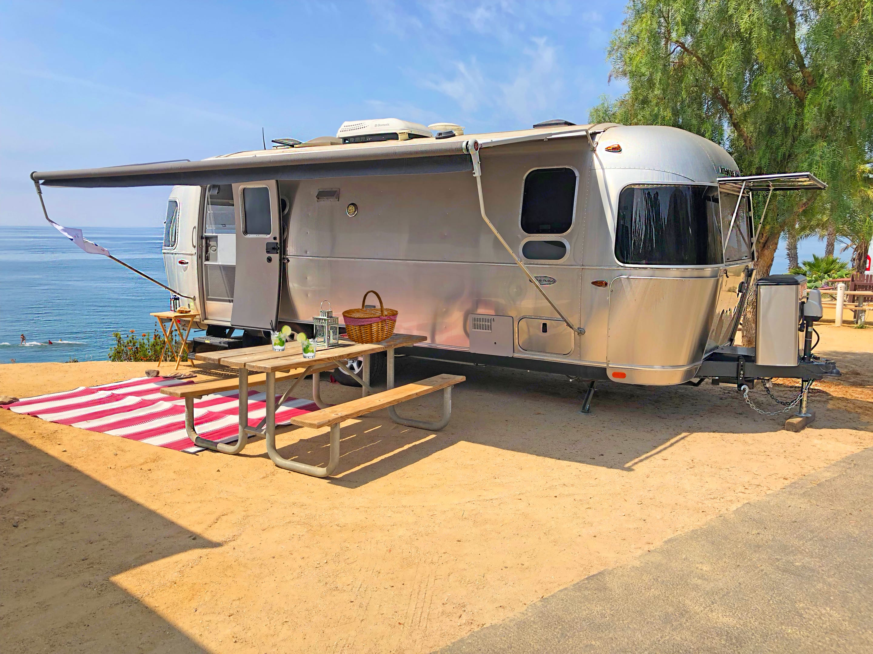 He's happy at the beach, in the woods or the desert.  . Airstream Flying Cloud 2016
