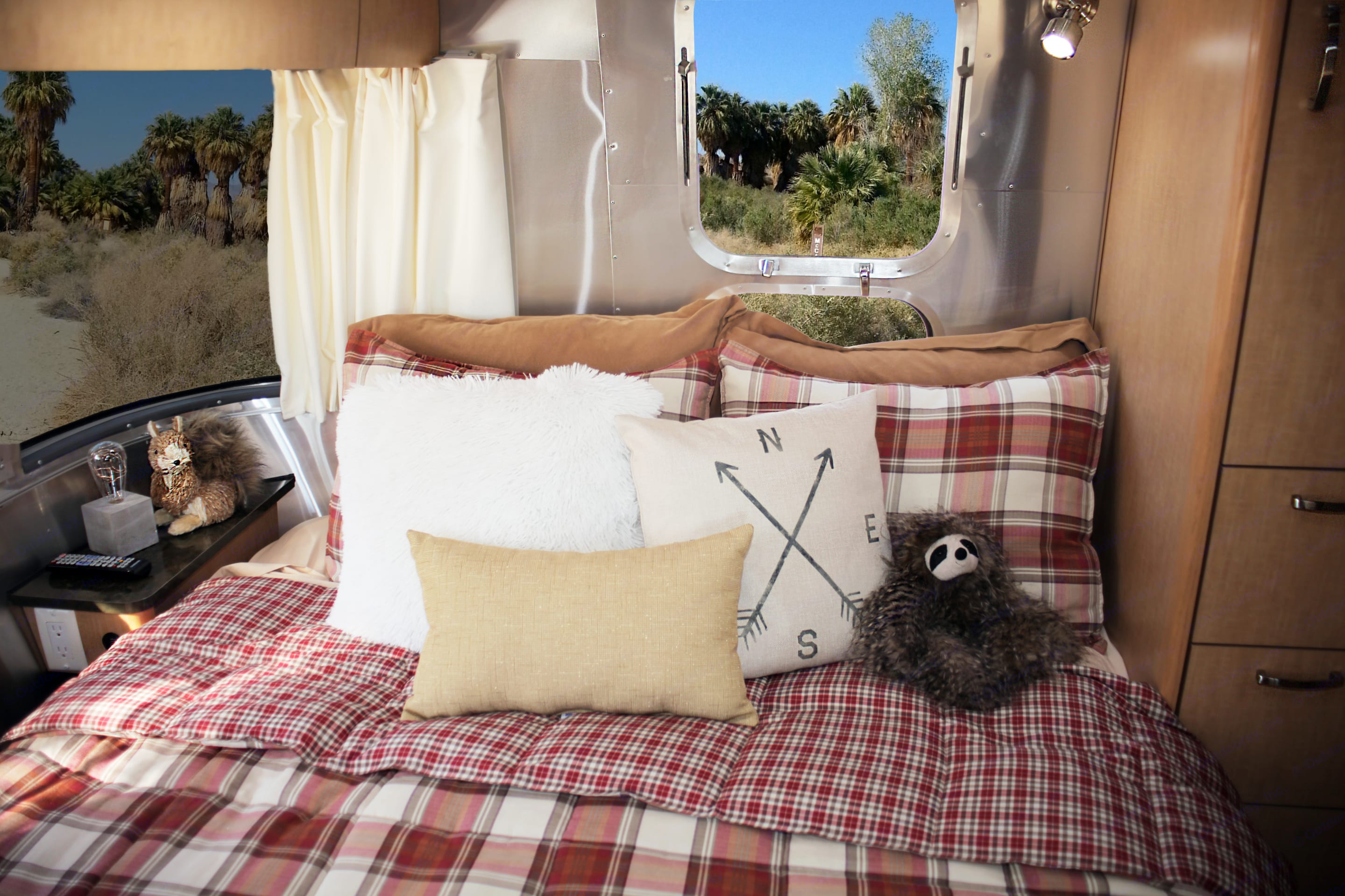 Comfy and cozy.  Every room has outlets and USB ports to charge your phone, and every window has blackout shades for privacy. . Airstream Flying Cloud 2016