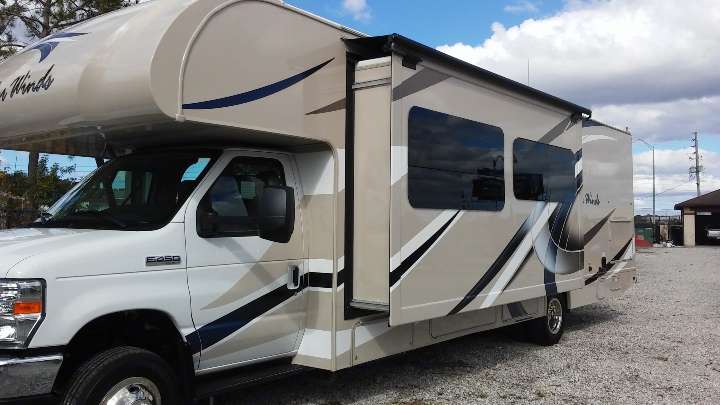 Driver side with Kitchen Slide out. Thor Motor Coach Four Winds 2017