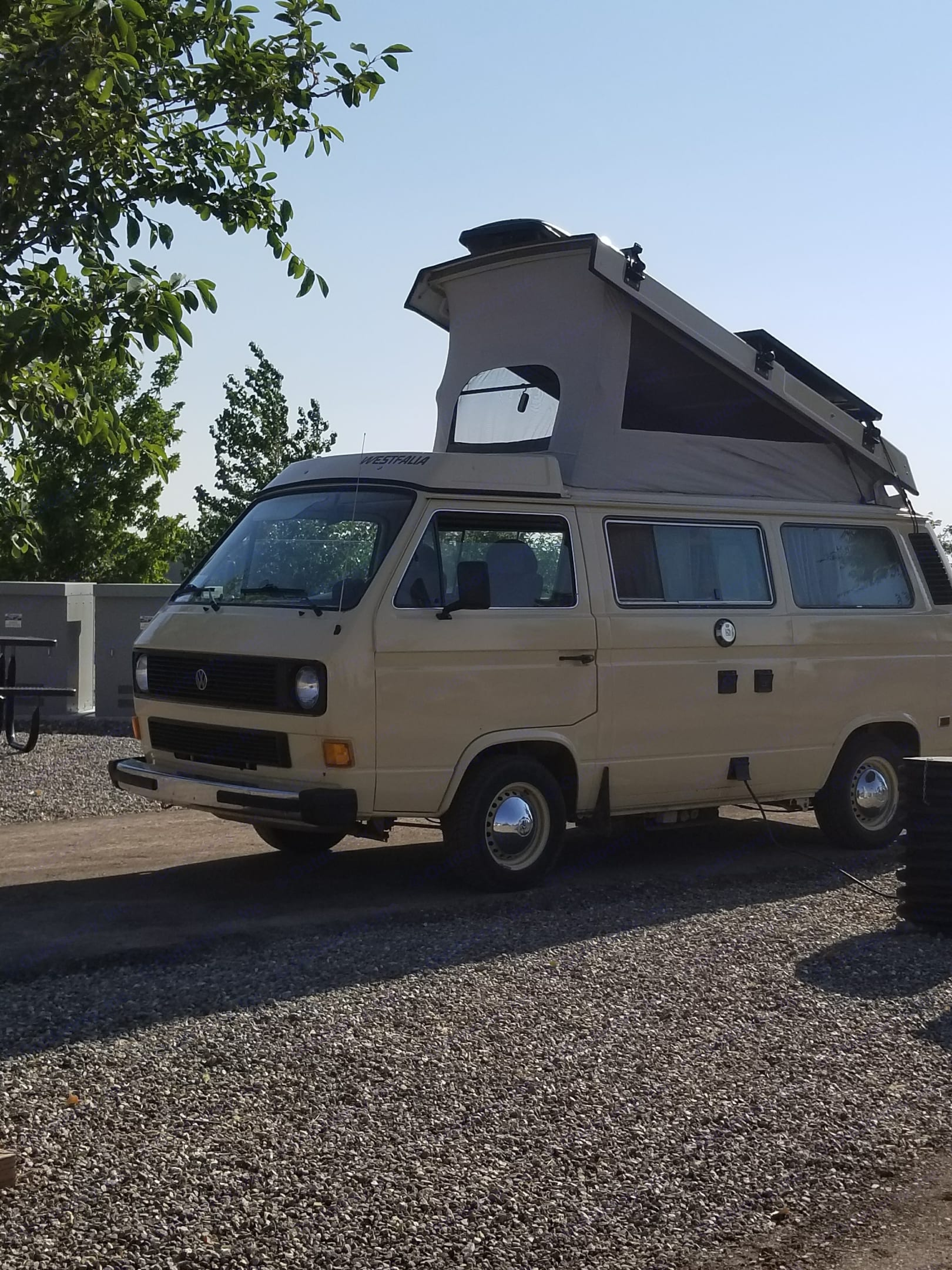 sleeping under the stars in comfort with the pop top open. . Volkswagen Westfalia 1982