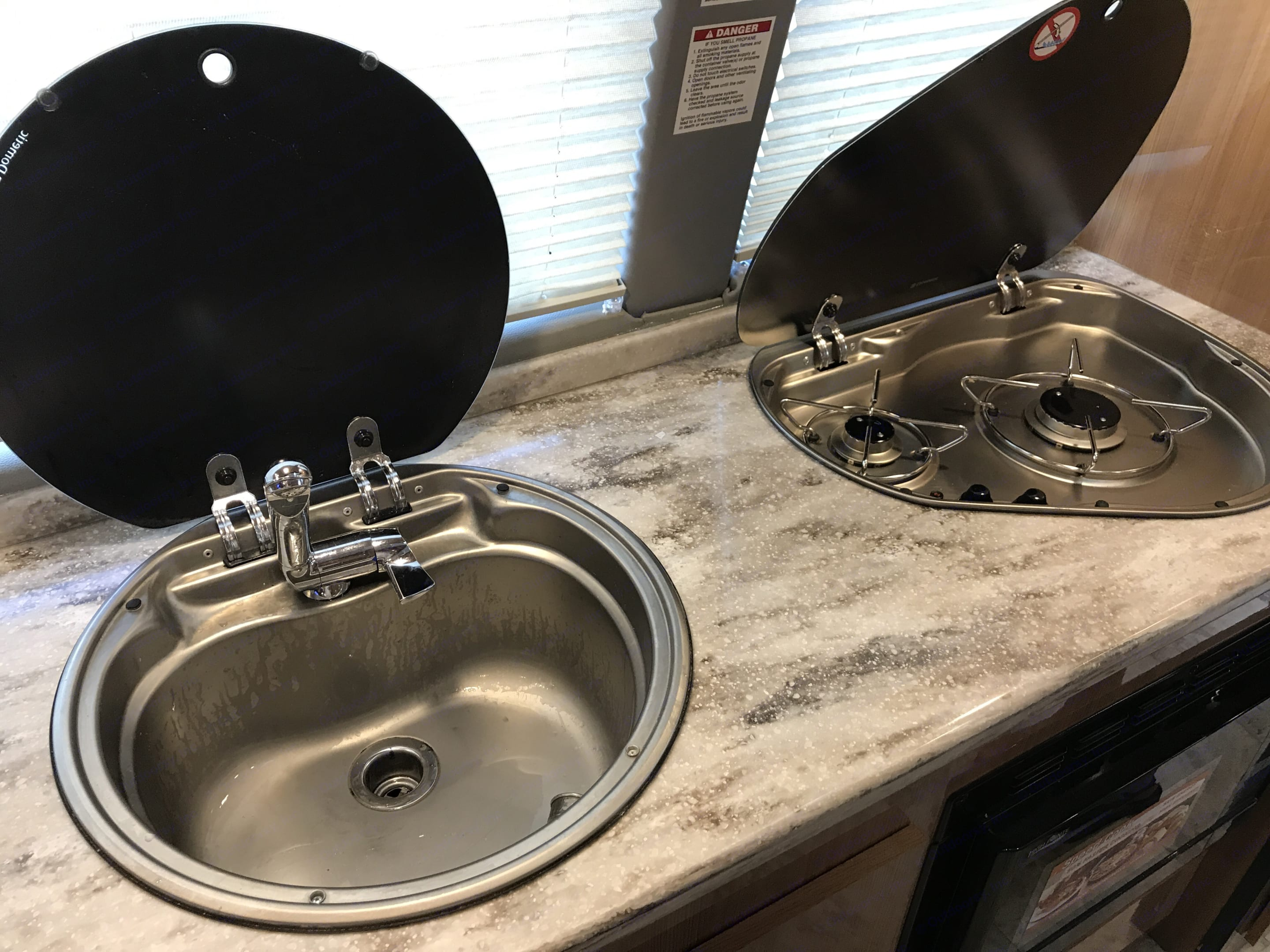 2 burner stove top with a sink. Evergreen Other 2016
