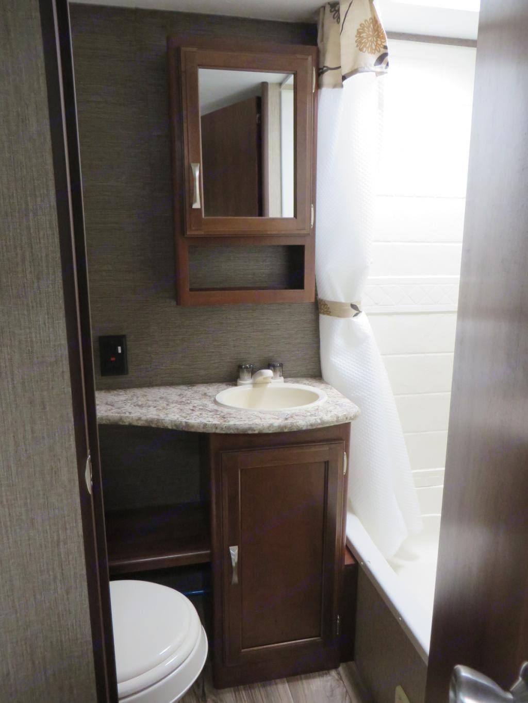 3 piece bathroom with shower and tub. Keystone Passport Ultra Lite 2016