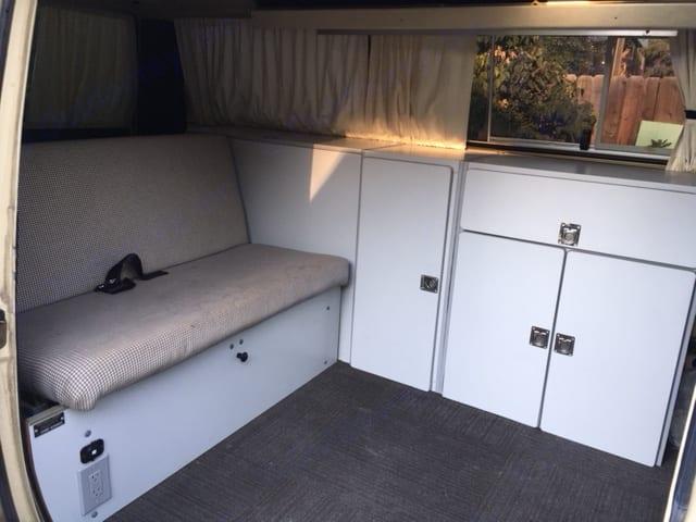 Fold down bed with storage under seat. Volkswagen Westfalia 1982