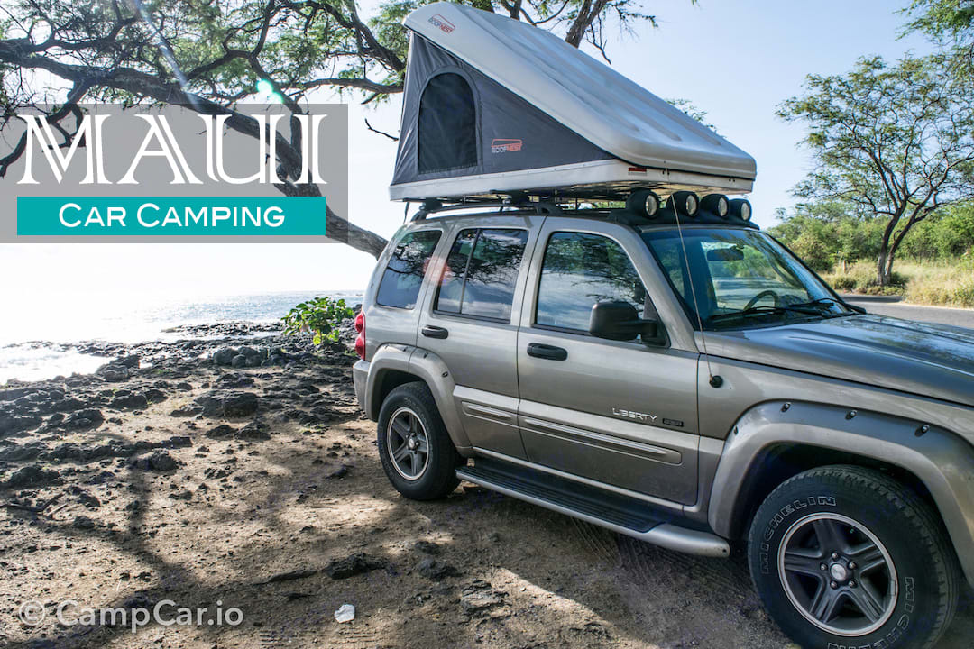 Maui car camping in a Jeep with a rooftop tent, let the adventure begin! Camp right on the beach and fall asleep to the sound of the ocean!. Jeep Liberty Renagade 2003